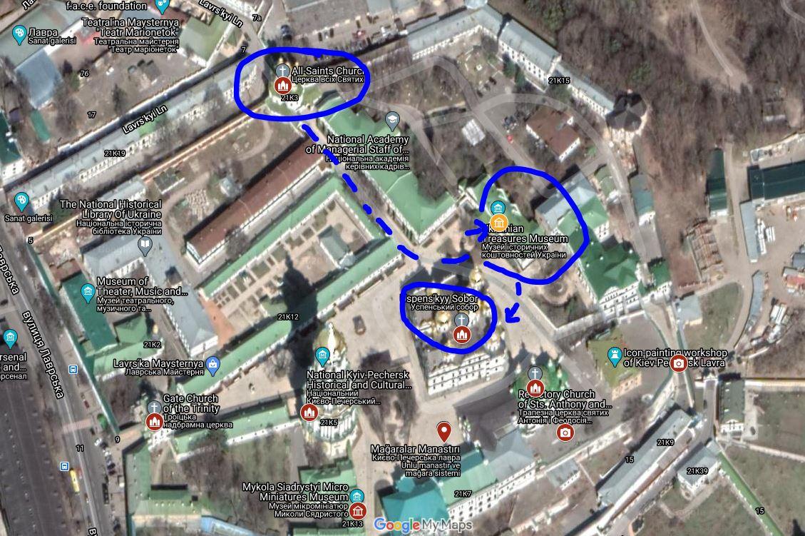 Pechersk Lavra Mağaralar Manastırı - Great Lavra Bell Tower - Uspensʹkyy Sobor - Ukrainian Treasures Museum - Mykola Syadristy Microminiatures Museum  Kiev Yürüyüş Rotası - Kiev Gezi Haritası